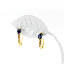Load image into Gallery viewer, 14K Yellow Gold Blue Sapphire and Diamond J-Hoop Earrings