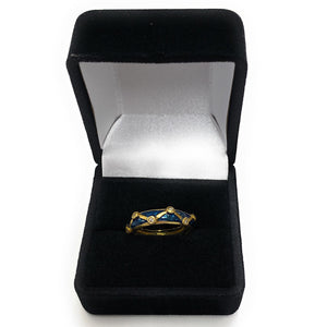Hidalgo 18k Yellow Gold Diamond & Blue Enamel Ring - Sz. 4¾