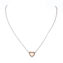 Load image into Gallery viewer, 18K 2-tone Gold Pink Diamond Open Heart Pendant Necklace