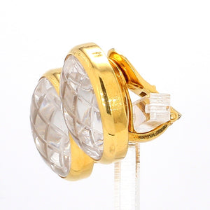 Vintage David Webb 18K Yellow Gold Quartz Crystal Clip-On Earnings