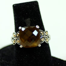 Load image into Gallery viewer, John Hardy Sterling Silver and 18 Karat Gold Checkerboard Cut Smokey Quartz Ring, Size 7