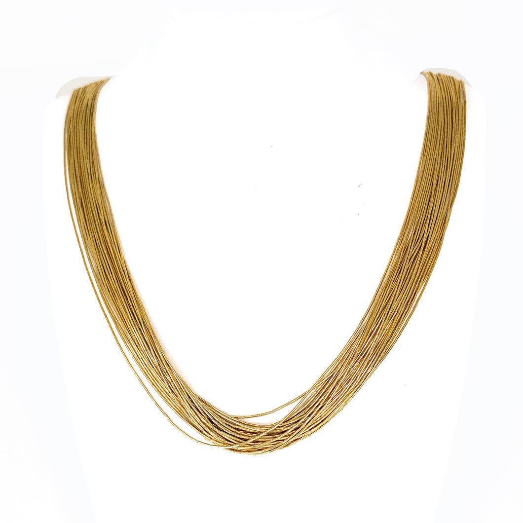 GOLD PLATED Liquid Silver 30 Strand Sterling Silver Necklace
