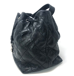 Chanel Black On the Road Large Drawstring Bucket Tote Bag