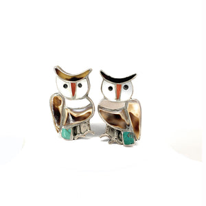 Vintage Zuni Handcrafted Multi-Stone Inlay Owl Clip-On Earrings