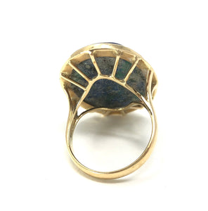 14K Yellow Gold Azurite Cabochon Ring Size 7.75