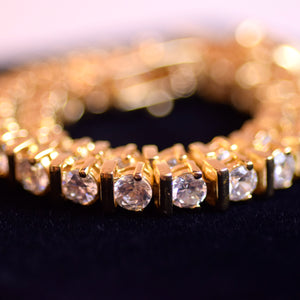 Gold Plated Sterling Silver Link Tennis Bracelet with White Cubic Zirconia Stones