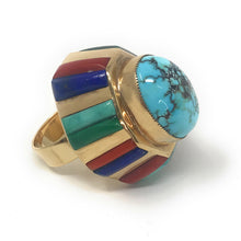 Load image into Gallery viewer, Native American 14K yellow Gold Turquoise Multi-stone Ring, Size 6.5