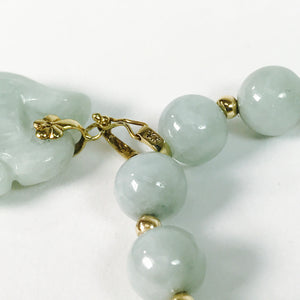 14kt Gold Jade Necklace and Bangle Bracelet Set