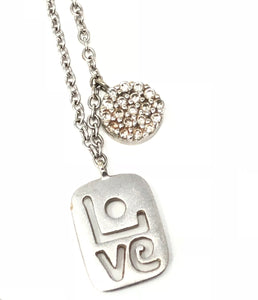 "Meira T Petite ""LOVE"" White Gold & Diamond Necklace"