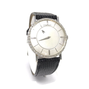 Longines Mystery Dial Diamond & 18K White Gold Women Watch 32mm