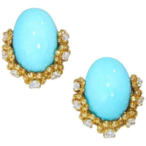 Vintage Tiffany & Co. 18K Yellow Gold Persian Turquoise & Diamond Clip-On Earrings
