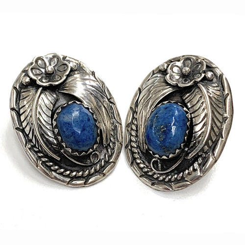 Vintage Navajo Sterling Silver Lapis Lazuli Earrings - Signed