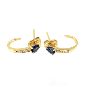 14K Yellow Gold Blue Sapphire and Diamond J-Hoop Earrings