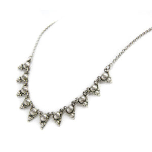 "Sterling Silver .925 Necklace 16"" with 11 Triangular Pendants"