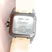 Load image into Gallery viewer, AUTHENTIC! Cartier Santos 100 Stainless Steel White Rubber Ladies Watch