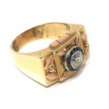 Load image into Gallery viewer, Hand Crafted Vintage Old Mine Cut Diamond & Sapphire Ring , 14K Yellow Gold Size 10.75