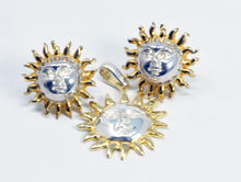 Load image into Gallery viewer, Sergio Bustamante signed Sun Silver Gold Pendant & Post Earrings Set