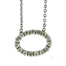 Load image into Gallery viewer, 18K White Gold Hearts on Fire Oval 0.50ctw Diamond Pendant Necklace