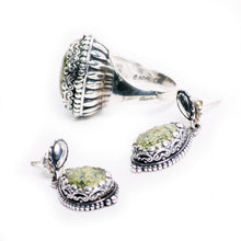 Load image into Gallery viewer, Manessa Turquoise Sterling Silver Ring and Earring Set