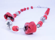 Load image into Gallery viewer, Native American Red Coral Heishi Bead with Sterling Silver Beads Necklace
