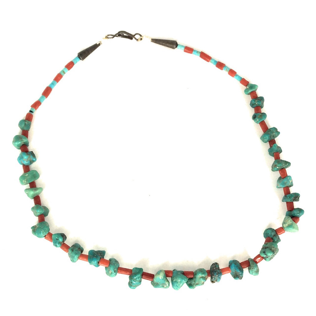 Native American Sterling Turquoise & Coral Necklace