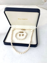 Load image into Gallery viewer, Mikimoto Blue Lagoon 14K Gold 7mm x 6.5mm Pearl Necklace Bracelet & Earring SetMikimoto Blue Lagoon 14K Gold 7mm x 6.5mm Pearl Necklace Bracelet & Earring Set