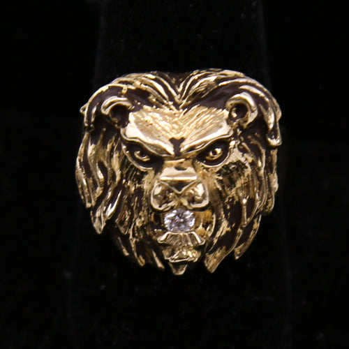 14K Yellow Gold 0.07ctw White Round Diamond Lion's Head Men's Ring