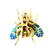 Load image into Gallery viewer, Plique A' Jour 18K Two-Tone Diamond Enamel Bumblebee Brooch Pin