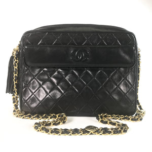 Chanel Vintage Black Quilted Lambskin Tassel Camera Bag
