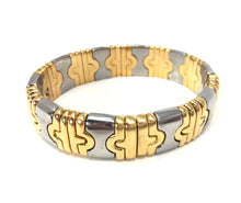 Load image into Gallery viewer, Bvlgari 18K Yellow and Stainless Steel 15mm Parentesi Bangle Bracelet
