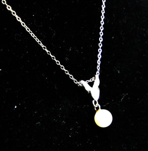 Pearl And Diamond Pendant Necklace w 14k White Gold Chain