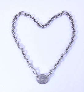 "Tiffany & Co. Classic 925 Sterling Silver ""Return To Tiffany"" Oval tag 16"" Necklace"