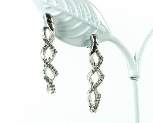 0.33ctw Diamond Swirl Drop Earrings in 10K White Gold