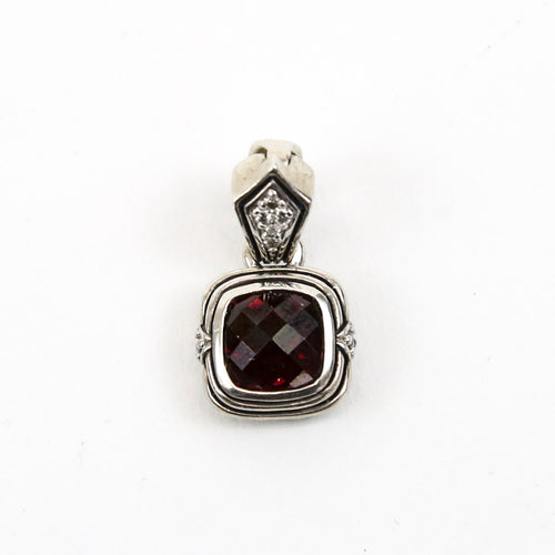 Scott Kay Sterling Silver Red Garnet and Diamond Square Pendant