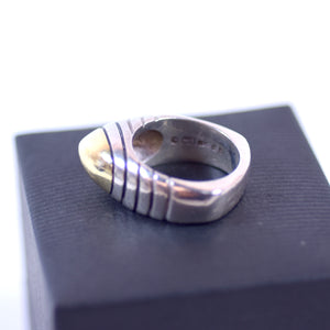 Cornelis Hollander Sterling Silver and 18 Karat Gold Tipped Ring