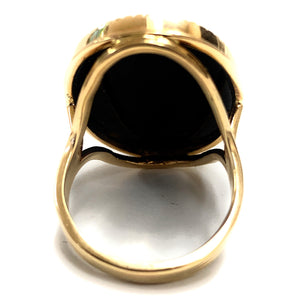 Vintage 1940's 14K Yellow Gold Onyx & Opal Cameo Ring - Sz. 6.5