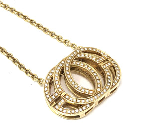 18k Yellow Gold Di Modolo 1.50ctw White Diamond Pendant Necklace
