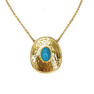 14K Yellow Gold and Turquoise Oval Necklace
