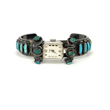 Load image into Gallery viewer, Vintage Native American Kingman Turquoise Cabochon Cuff Watch Bracelet