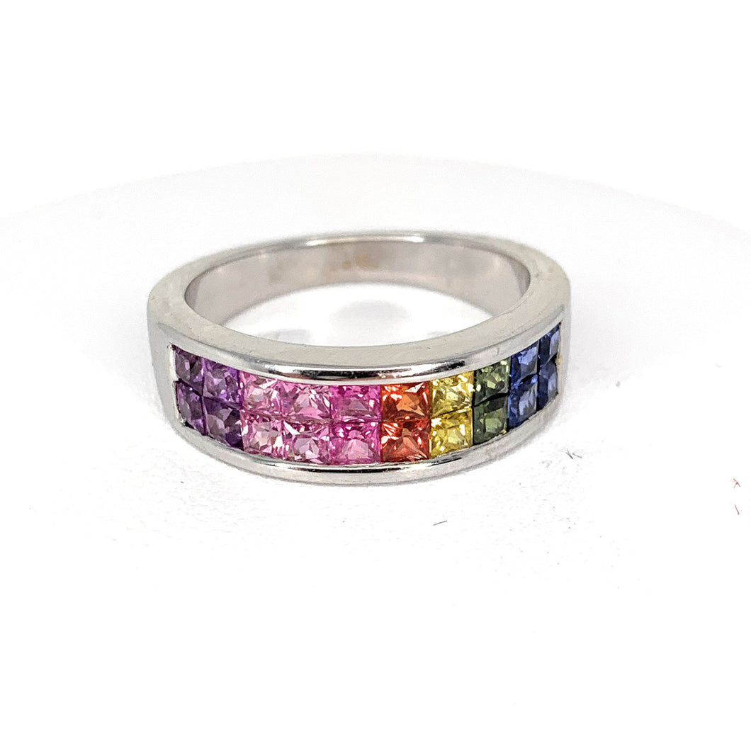 14K Multi Color Sapphire Eternity Band Channel Set Ring - Sz. 7¼