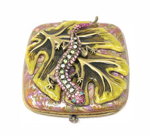 Load image into Gallery viewer, Jay Strongwater Lizard Double Compact Mirror Swarovski Crystal Case