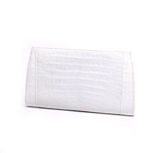 Nancy Gonzalez White Crocodile Slicer Clutch Bag