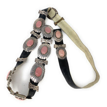 Load image into Gallery viewer, Sterling Silver Rose Quartz Cabochon Concho Belt