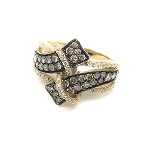 Le Vian Brown & White Diamond 1.00ctw 14K Yellow Gold Ladies Ring, size 7