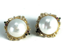 Load image into Gallery viewer, GORGEOUS Tahitian Mabe Pearl & Diamond 14K Yellow Gold Earrings