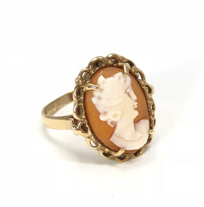 14K Yellow Gold Carnelian Cameo Ladies Ring by Dason Size 5