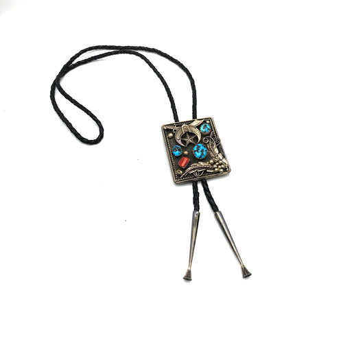 Vintage Sterling Silver Yellow Gold Red Coral & Turquoise Masonic Motfit Bolo Tie