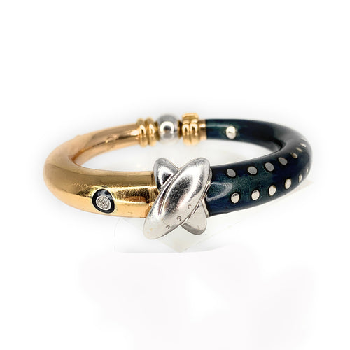 18K LA NOUVELLE Diamond & Enamel Bangle Bracelet