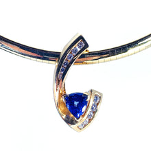 Load image into Gallery viewer, GORGEOUS 14kt Yellow Gold Necklace w/ Tanzanite & Diamond Slide Pendant