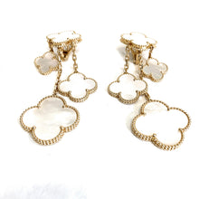 "Load image into Gallery viewer, Van Cleef & Arpels 18k Gold & Mother-of-Pearl ""Magic Alhambra"" Chandelier Earrings"